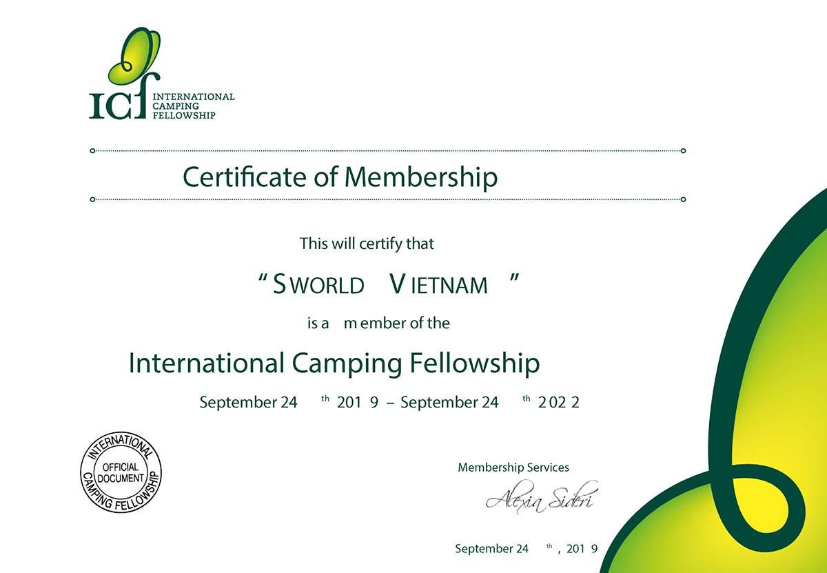 Chứng nhận trại hè quốc tế của Sworld Việt Nam